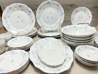 Johann Haviland Bavaria Germany Blue Garland Dinnerware Plates Cups Vtg White
