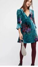 Free People Teal Velvet Floral Flower Dress Time On Your Side Sz S New