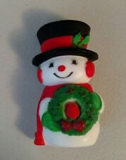 Vintage Brooch Hallmark PIN Christmas SNOWMAN w Red Bird WREATH Vintage Holiday