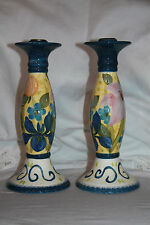 Taper Candle Holders Candlesticks Spring Floral Certified International Pottery