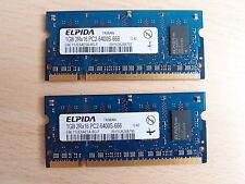 Elpida 2GB Kit 2x1GB DDR2 Laptop Memory RAM 2Rx16 PC2-6400S-666 EBE11UE6AESA-8G