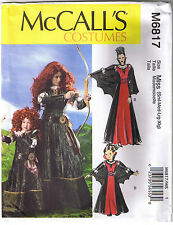 Misses Princess Merida Brave Archer Vampire Costume Sewing Pattern Size S M L XL