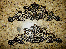 Set 2 Small Cast Iron Scroll Toppers Cabinet Hardware Old World Wall Plaques