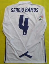 5+/5 REAL MADRID #4 SERGIO RAMOS 2016~2017 ADIDAS LONG SLEEVE JERSEY SHIRT