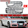 Pair Bumper Fog Light Grill Grille Silver Trim For AUDI S-Line A5 / S5 2013-2016