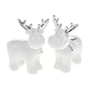 Silver White cute Reindeer figurine Christmas decoration 12cm tall