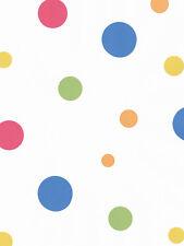 Multi Colored Polka Dots on White Wallpaper 14459641