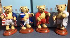 Halcyon Days Four Olympic Teddy Bears With Flags From Usa, Uk, Korea & Japan