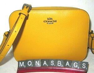 Coach 87734 Mini Camera Crossbody Ochre Yellow Pebbled Leather NWT $250