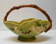 Basket Apple Blossom Wood Branch Handle Scalloped Footed USA Roseville Pottery