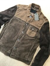 "ALL SAINTS KHAKI BROWN ""DAKOTA"" SUEDE LEATHER JACKET COAT - XS S M - NEW & TAGS"