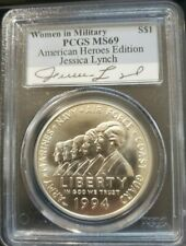 1994 W PCGS MS69 SILVER WOMEN IN MILITARY AMERICAN HEROES JESSICA LYNCH SIGNED