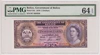 Belize 2 Dollar 1976 P34c 2$ PMG Gem UNC 64 EPQ Queen Elizabeth Currency Rare