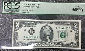 1995 $2 ATLANTA FRN (FB BLOCK) 1936-F PCGS 65PPQ FROM BEP SHEET w/  $19.99 START