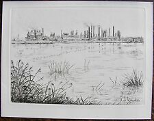 AYMAR DE LEZARDIERE : La raffinerie de normandie. Gravure originale. Carte de vœ