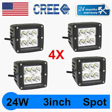 4X 24W Spot CREE LED Cube Pods Work Light Square Offroad Truck Save Flush Mount