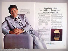 Hewlett Packard Watch, Timer, Calculator 2-Page PRINT AD - 1977 ~~ Wally Schirra
