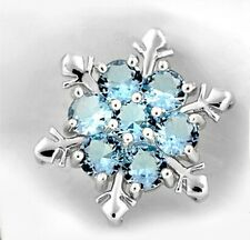 Cute Women Silver Blue Crystal Snowflake Flower Charm Pendant Necklace Jewelry H