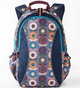 NWT Garnet Hill Kids Backpack - Girls ECO Signature Backpack Floral Navy Gray L