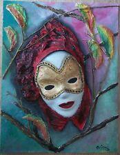 Peinture sur panneau technique mixte masque venise relief signé M.Gravier  certi