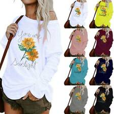 Womens One Shoulder Print Long Sleeve Tops Ladies Casual Pullover Blouse T-Shirt
