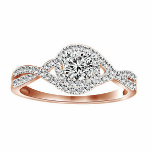 10k Rose Gold Over 1/2 ct Round Cut VVS1 Swirl Infinity Engagement Ring