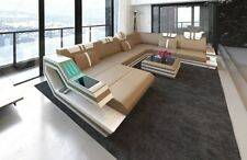 Luxus Designersofa Couch RAVENNA XXL Form LED Beleuchtung Couch Lederecksofa USB