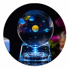 Zulux Solar System Balls - Crystal Ball for Kids with Led Lamp Base, Clear