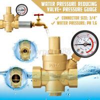 DN20 Brass Adjustable Water Pressure Reducing Regulator +Valve Gauge Meter