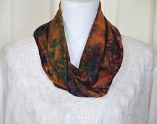 Silk Soft Buff Yellow, Red, Green Multi Color Tie and Dye Scarf