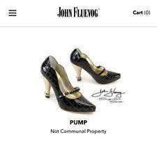 JOHN FLUEVOG Rare AIDS Aware Croc Emb Black Gold Heels Pumps Women Shoes5.5/6 N