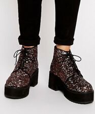 NEW Asos Risky Business Ankle Boots Brown Black Glitter Shoes Sequins US 5