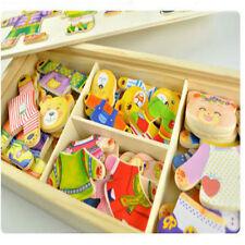 Wood Dress-Up Bear Mix Match Outfits Box Puzzle Preschool Kids Educational Toys