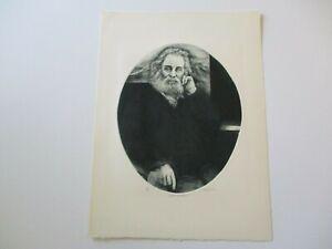 JOHN COUGLIN ETCHING PORTRAIT OF WALT WHITMAN LARGE SIGNED LIMITED VINTAGE