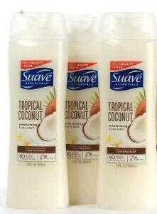 3 Bottles Suave Essentials 15 Oz Tropical Coconut Moisturizing Body Wash