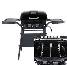 Grill Gas 3 Burners Two Side Shelves Portable Propane Fuel Steel Outdoors Black