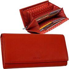 ESPRIT rot DAMEN-GELDBÖRSE leder GELDBEUTEL red leather PORTEMONNAIE purse NEU