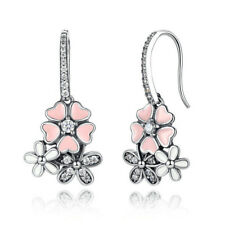 Women 925 Silver Pink Sapphire Flower Daisy Crystal Drop Dangle Earrings Wedding