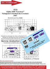 """DÉCALS 1/43 réf  43/21 Alpine 1600 """"Larousse"""" Vainqueur Criterium des Cevennes"""