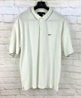 Nike Golf Mens Dri-FIT Polo Shirt White Textured Short Sleeve Swoosh Emblem XL