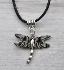 Antique Silver Plt Dragonfly Pendant Necklace Ladies Gift Nature Outlander
