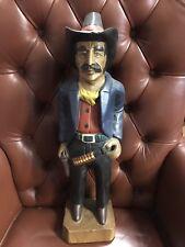 Wood Carved & painted Western Cowboy Rustic Art Decor Belt Buckle Lee Pistol