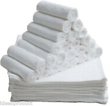 12 White Luxury Soft Face Cloths Towels Cotton Rich Flannels Wash Cloth 420 gsm