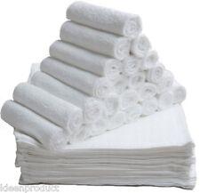 12 Bianco Lusso Morbido faccia PANNI asciugamani di cotone RICH Flannels Lavare Panno 420 GSM