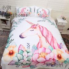Flowers Unicorn White Pillows Case Full Queen Duvet Cover Bedding Comforter Sets
