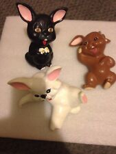 Three Vintage Ceramic Funny Bunnies/Rabbits Easter signed