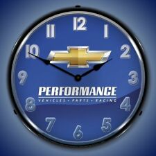 "Chevrolet Performance Parts 14"" Backlit Led Lighted Wall Clock Garage Usa - New"