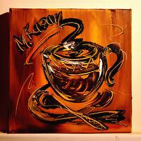COFFEE art by Mark Kazav pop art Abstract Modern CANVAS Original  PAINTING FGNN