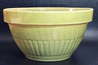 Vintage 8 Inch Yellow Ware Stoneware Green Glaze Mixing Bowl