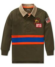 Nwt Ralph Lauren Polo Boys Long Sleeve Hunting Crested Patch Rugby Shirt 4 4T